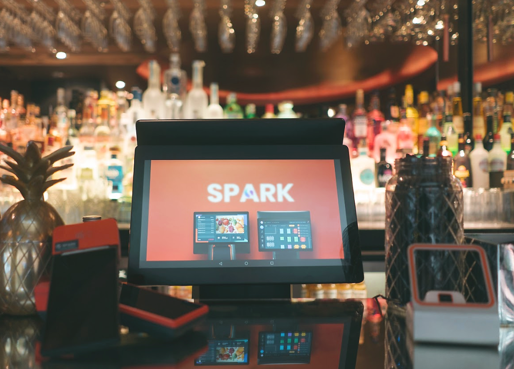 The Spark epos system at a restaurant and bar with PDQs and QR scanner