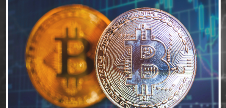 image of two bitcoins in front of cryptocurrency market